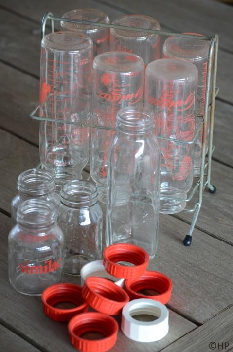 oude glazen papflessen